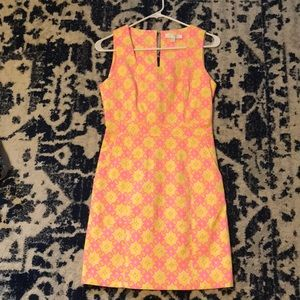 MM Couture Pink and Yellow Dress! Worn once!